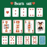 Playing cards hearts set Royalty Free Stock Photos