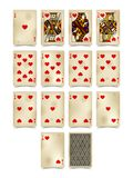 Playing cards of Hearts suit in vintage style isolated on white Stock Photography