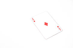 Playing cards horizontal size. ace of diamonds on white background, copyspace. luck abstract. Studio shot Stock Image