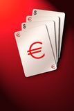 Playing cards illustration. Playing cards on euro dollar sign. Finance composition royalty free illustration