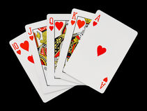 Playing cards. Isolated on black background Royalty Free Stock Images