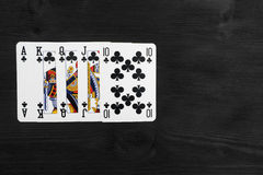 Playing cards isolated on black background Stock Photo