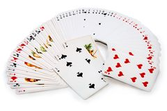 Playing cards isolated over white. Royalty Free Stock Image