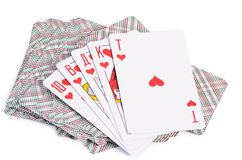 Playing cards isolated on white background Stock Images
