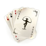 Playing cards with a joker. Illustration on a white background Stock Images
