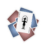 Playing cards and joker. Back side of playing cards and joker on white background Royalty Free Stock Photo