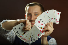 Playing cards jugglery Stock Photos