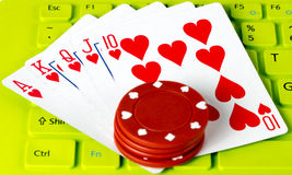 Playing cards in Keyboard green Royalty Free Stock Images
