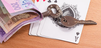 Playing cards and keys Royalty Free Stock Image