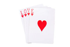 Playing cards with love massage Royalty Free Stock Photos