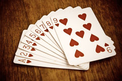 Playing cards, love symbol Stock Photos
