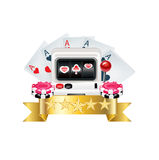 Playing cards with machine, chips and golden ribbon Royalty Free Stock Image