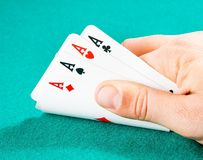 Playing cards in a man hand Stock Photography