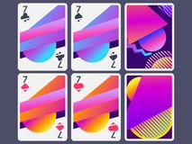 Playing cards in modern style. Gradient shapes, geometric objects. The reverse side of the playing card. Vector. Illustration stock illustration