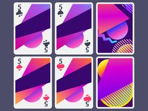 Playing cards in modern style. Gradient shapes, geometric objects. The reverse side of the playing card. Vector. Illustration royalty free illustration