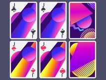 Playing cards in modern style. Gradient shapes, geometric objects. The reverse side of the playing card. Vector. Illustration vector illustration