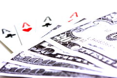 Playing Cards and Money Stock Photography