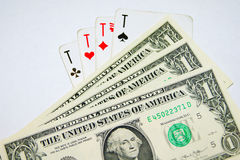 Playing cards, money Stock Image