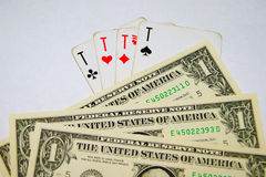 Playing cards money Royalty Free Stock Photo