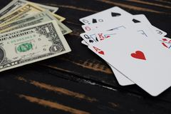 Playing cards for money, dollars Stock Photography