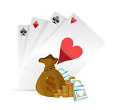 Playing cards and money illustration Stock Photos