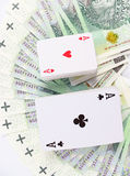 Playing cards and money Royalty Free Stock Photo