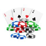 Playing cards near stack of casino 3d chips. Or aces of spades, diamond, hearts and clubs near realistic gambling tokens for sport poker, blackjack. Gamble and stock illustration