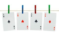 Free Playing Cards On Clothespins Royalty Free Stock Photos - 4611098