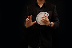 Playing cards, One Hand Fan Royalty Free Stock Images