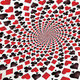 Playing cards. Op art. Card suit. Hearts, diamonds, spades and clubs. Playing cards. Op art. Vector illustration Stock Image