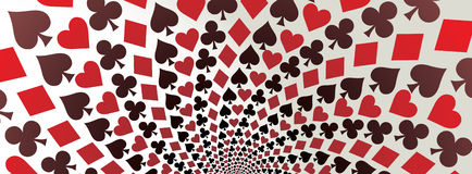 Playing cards. Panorama. Card suit. Hearts, diamonds, spades and clubs. Playing cards. Op art. Vector illustration. Panorama Royalty Free Stock Image