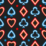 Playing cards pattern. Seamless poker pattern background with card suits. Hearts, diamonds, spades and clubs. Vector illustration of the symbols of playing cards Stock Images