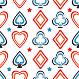 Playing cards pattern. Seamless poker pattern background with card suits. Hearts, diamonds, spades and clubs. Vector illustration of the symbols of playing cards Stock Image