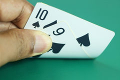 Playing cards. In people hand royalty free stock photography
