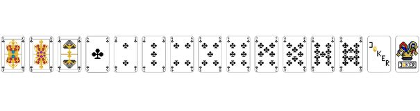 Playing Cards - Pixel Clubs PIXEL ART vector illustration