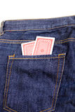Playing cards in pocket Royalty Free Stock Photography