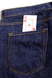 Playing cards in pocket Royalty Free Stock Image
