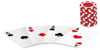 Playing Cards and Poker Chips. Playing Cards - Four Aces and Poker Chips On White Background - vector Stock Photography