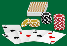 Playing Cards and Poker Chips. Playing Cards - Four Aces and Poker Chips On White Background - vector Stock Image