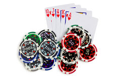 Playing cards and poker chips Royalty Free Stock Image