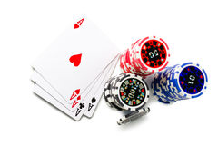 Playing cards and poker chips Royalty Free Stock Photography