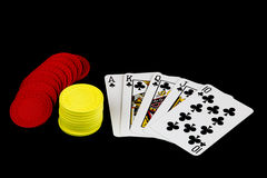 Playing Cards and Poker Chips on Black Background Royalty Free Stock Photo