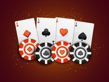 Playing Cards and Poker Chips for Casino. Casino background with Playing Cards and Poker Chips Stock Photo