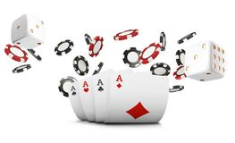Playing cards, poker chips and dice fly casino on white background. Poker casino vector illustration. Online casino game. Gambling 3d vector concept, poker Stock Image