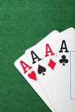 Playing cards, poker chips, and dices on green table Royalty Free Stock Photography