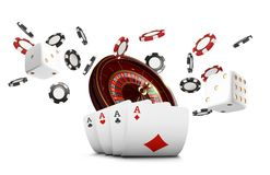 Playing cards and poker chips fly casino. Casino roulette concept on white background. Poker casino vector illustration. Red and black realistic chip in the stock illustration