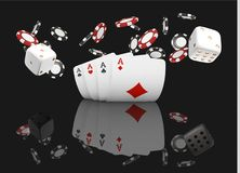 Playing cards and poker chips fly casino. Concept on black background. Poker casino vector illustration. Red and black. Realistic chip in the air. Gambling Stock Photo