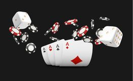 Playing cards and poker chips fly casino. Concept on black background. Poker casino vector illustration. Red and black. Realistic chip in the air. Gambling Stock Photos