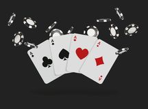 Playing cards and poker chips fly casino. Concept on black background. Poker casino vector illustration.  Royalty Free Stock Photos