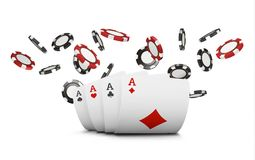Playing cards and poker chips fly casino. Concept on white background. Poker casino vector illustration. Red and black. Realistic chip in the air. Gambling Stock Images